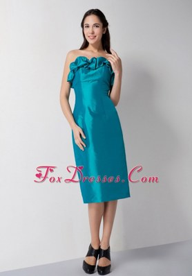 Teal Tea-length Column Strapless Cocktail Graduation Dresses