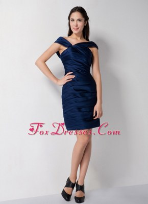 V-neck Navy Blue Column Mini-length Cocktail Graduation Dress