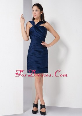 Navy Blue Column V-neck Short Cocktail Homecoming Dresses