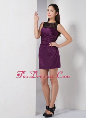 Bateau Dark Purple Lace Mini-length Cocktail Homecoming Dresses
