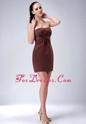 Strapless Brown Column Mini-length Simple Prom Cocktail Dresses