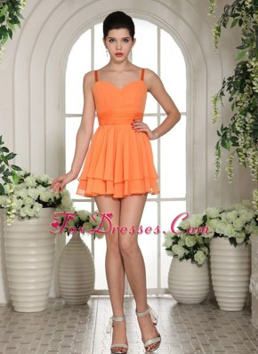 2013 Cute Orange Mini-length Spaghetti Straps Prom Cocktail Dress