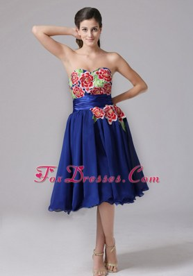 2013 Blue Sweetheart Appliques Cocktail Homecoming Dresses With Knee-length