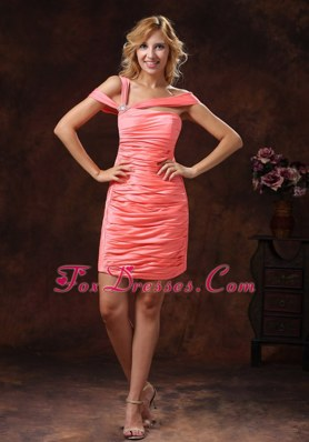 Watermelon Asymmetrical Neckline For 2013 Cocktail Homecoming Gown