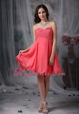 Coral Red Pricess Sweetheart Short Beading Prom Cocktail Dresses