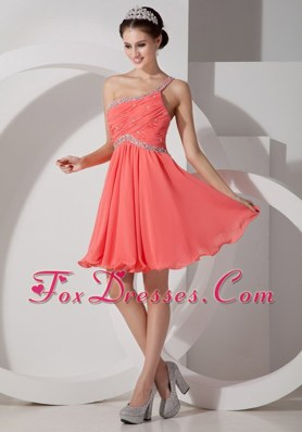 Watermelon Beading One Shoulder Mini-length Prom Cocktail Dresses