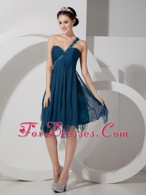One Shoulder Knee-length Chiffon Beading Prom Cocktail Dresses