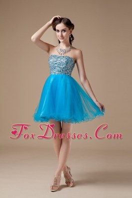 A-line Strapless Mini-length Organza Beading Cocktail Holiday Dresses