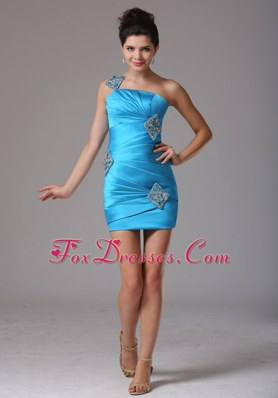 One Shoulder 2013 Cocktail Graduation Dresses Beading Ruching