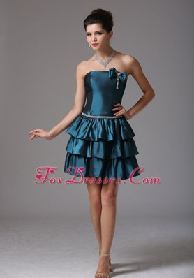 A-line Ruffled Layers Cocktail Homecoming Dresses Bow Beading