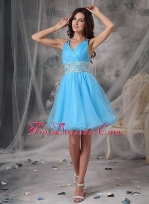 A-line V-neck Organza Beading Cocktail Homecoming Dresses