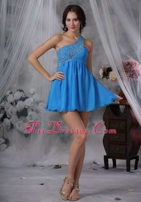 Beading One Shoulder Chiffon Blue For 2013 Prom Cocktail Dresses