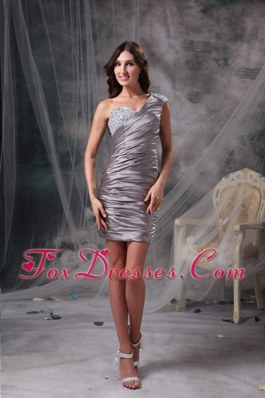 Column One Shoulder Chiffon Beading Cocktail Holiday Dresses