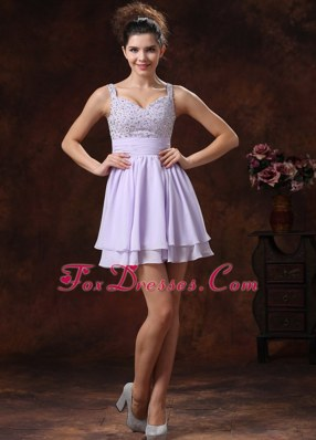 Lilac Straps Beading Cocktail Graduation Dresses With Mini-length