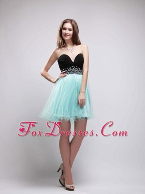 Black and Apple Green Sweetheart Beading Cocktail Holiday Dresses