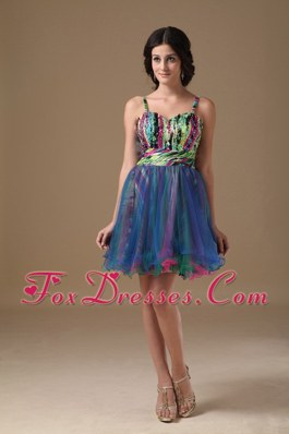 Multi-color Straps Organza and Printing Beading Cocktail Holiday Dresses