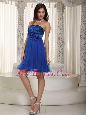 Strapless Organza and Sequin Bowknot Prom Cocktail Dresses