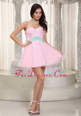 Baby Pink Sweetheart Organza Appliques Prom Cocktail Dresses