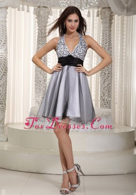 Gray Halter Mini-length Organza Sash Prom Cocktail Dresses