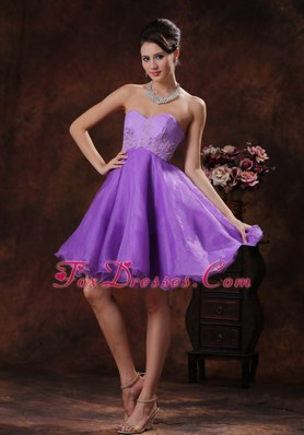 Sweetheart Lavender Cocktail Holiday Dressess Appliques Organza