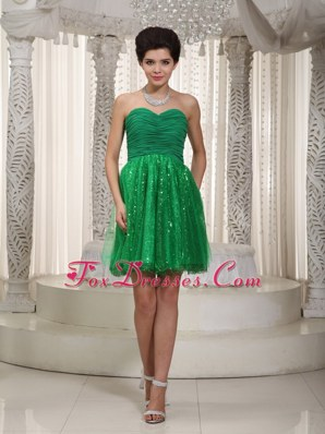 Green Sweetheart Tulle and Sequin Ruche Prom Cocktail Dresses