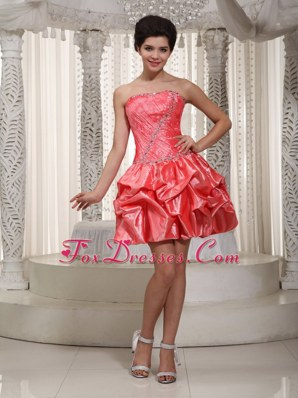 Watermelon Strapless Mini-length Beading Prom Cocktail Dresses