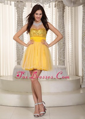 Yellow Sweetheart Sequins Cocktail Homecoming Dresses