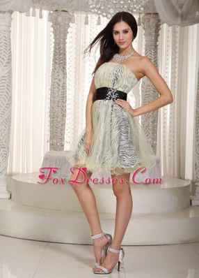Strapless Zebra and Organza Belt Appliques Cocktail Homecoming Dresses