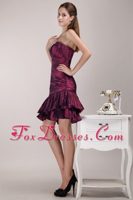 One Shoulder Knee-length Ruffles Cocktail Holiday Dresses