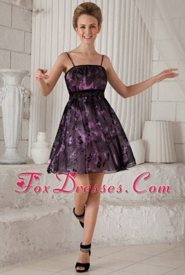 Empire Spaghetti Straps Printing Cocktail Homecoming Dresses