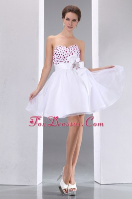 White Sweetheart Beading Prom Cocktail Dresses