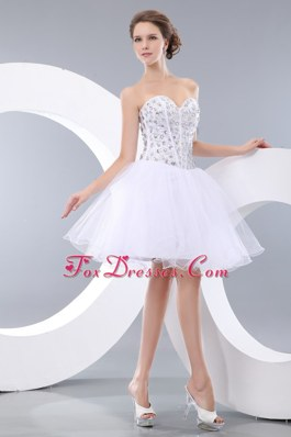White Sweetheart Organza Beading Cocktail Homecoming Dresses