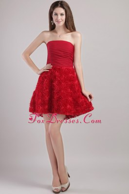 Prom Holiday Dresses Wine Red Mini-length Strapless