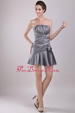 Prom Homecoming Dresses Grey Ruche Strapless