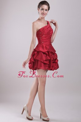 One Shoulder A-Line Short Beading Prom Cocktail Dress