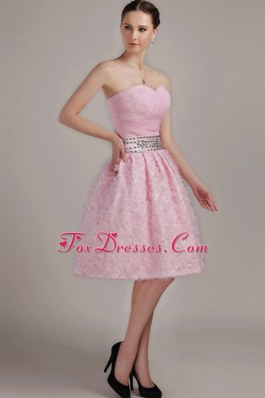 Prom Cocktail Dresses Pink Beading Knee-length A-Line