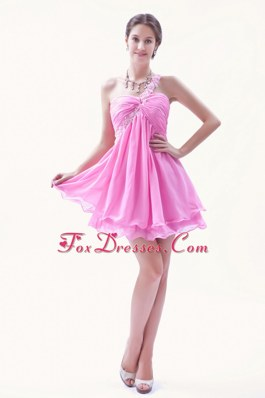 Beading One Shoulder Prom Homecoming Dresses Mini-length