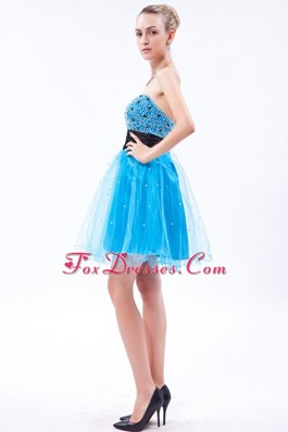 Beading Blue Strapless Prom Cocktail Dresses Mini-length