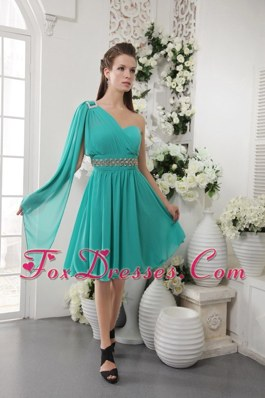 Turquoise One Shoulder Empire Beading Prom Gown