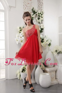 One Shoulder Prom Cocktail Dress Red Short Beading