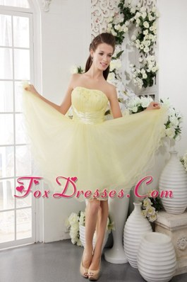 Light Yellow Strapless Mini-length Beading Prom Gown