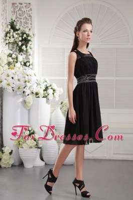 Scoop Prom Graduation Dresses Knee-length Black Beading
