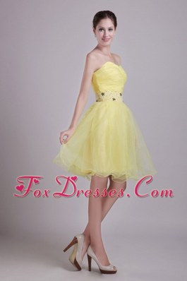 Beading Yellow Sweetheart Prom Homecoming Dresses Ruche