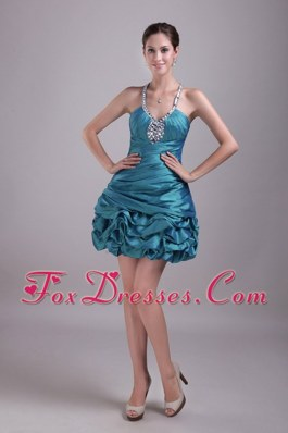 Prom Cocktail Dress Teal Pick ups A-Line Halter Beading
