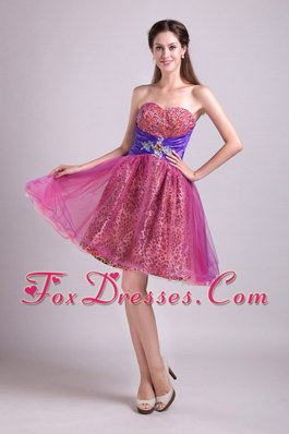 Short Prom Cocktail Dress Beading A-line Sweetheart Fuchsia