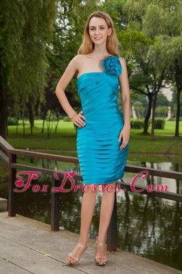 Blue Graduation Dresses Knee-length Prom One Shoulder