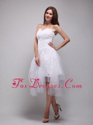 Prom Cocktail Dress With White A-Line Strapless Ruch