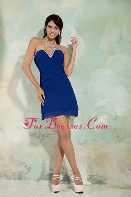 Sweetheart Blue Beading Short Prom Cocktail Dresses
