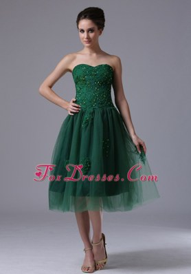 Sweetheart A-Line Dama Dresses for Quinceanera Beading Dark Green