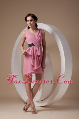Dama Dresses with V-neck Mini-length Ruch